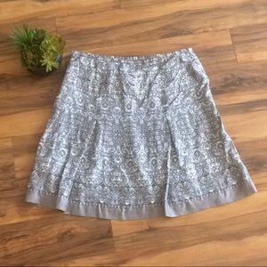 LOFT Grey & White Scrollwork Print Midi Skirt